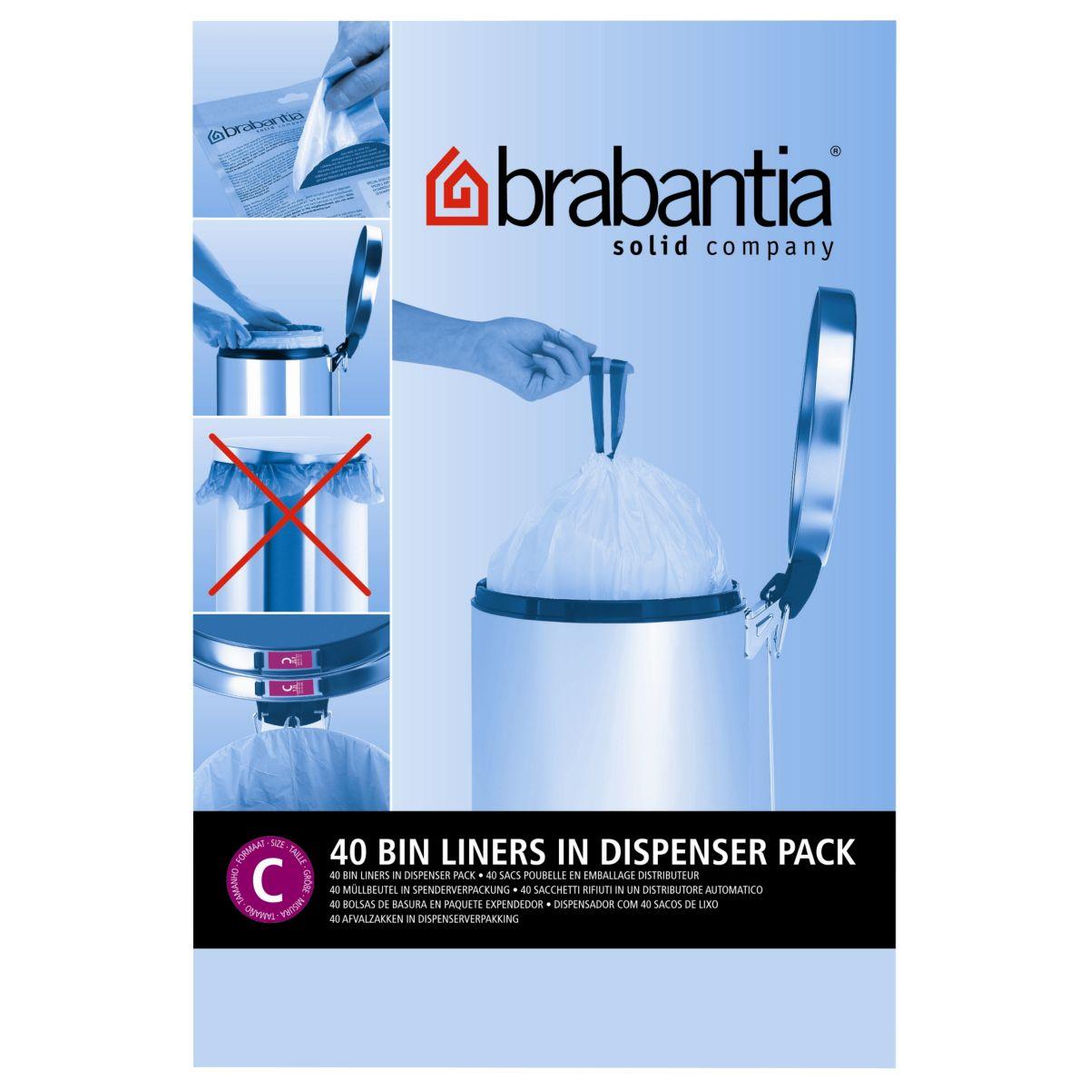 Distributeur BRABANTIA sacs poubelle 12L(40sacs/distributeur)