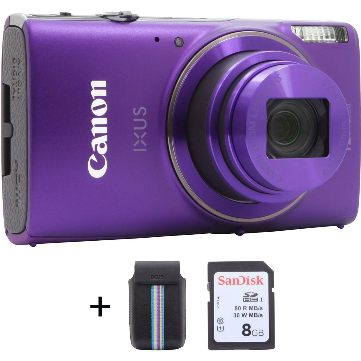 Appareil photo Compact CANON Ixus 285 HS Pourpre + Etui + SD 8...