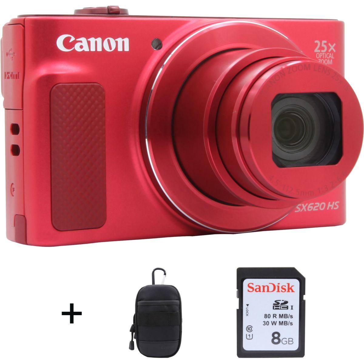 Appareil photo Compact CANON SX620 HS Rouge + Etui + SD 16Go
