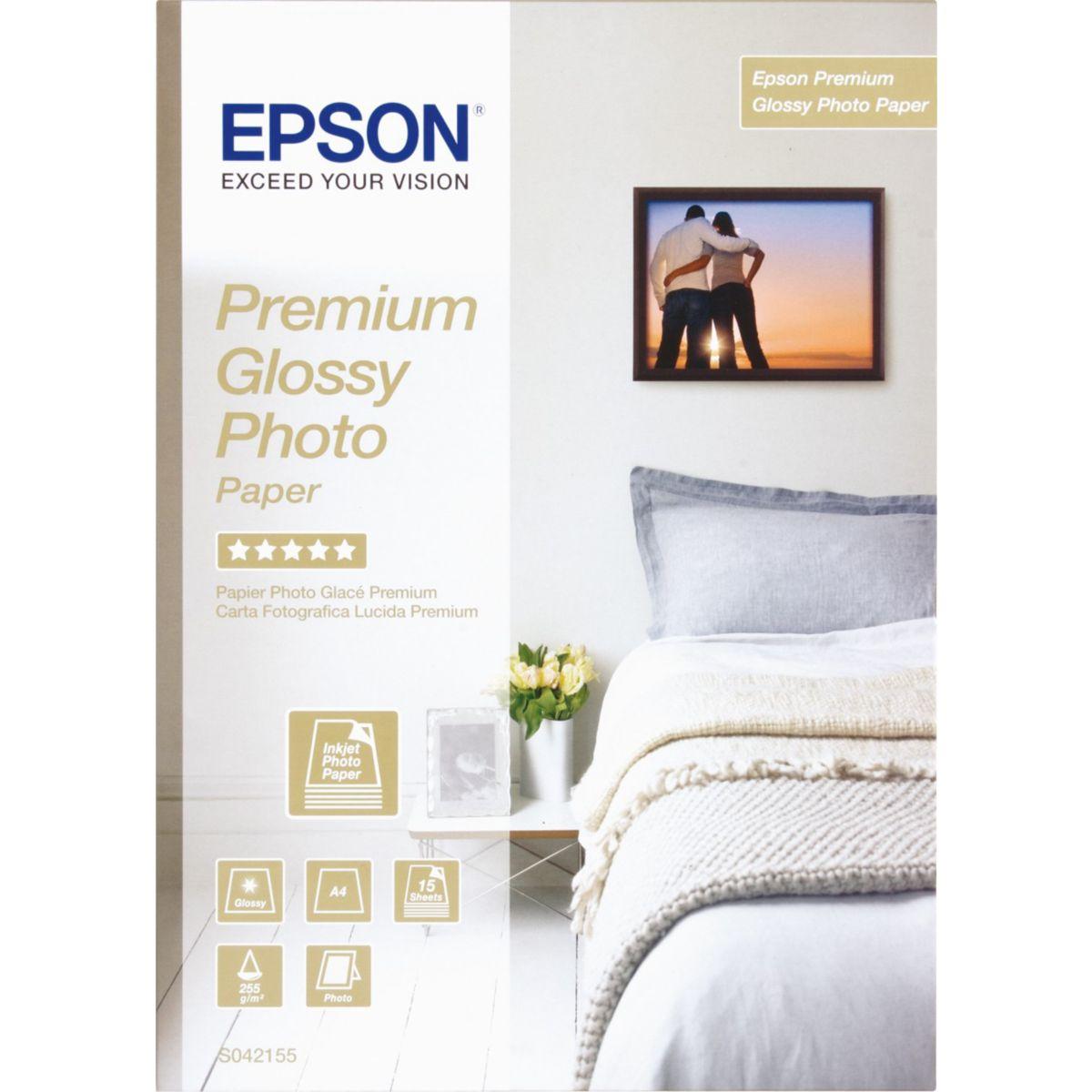 Papier photo EPSON premium glacé 255 g A4 15 Feuilles