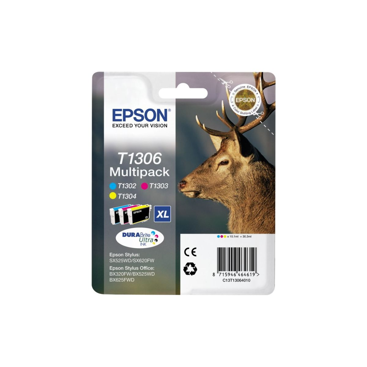 Multipack cartouches d'encre EPSON T130 (Cyan Magenta Jaune) Série Cerf