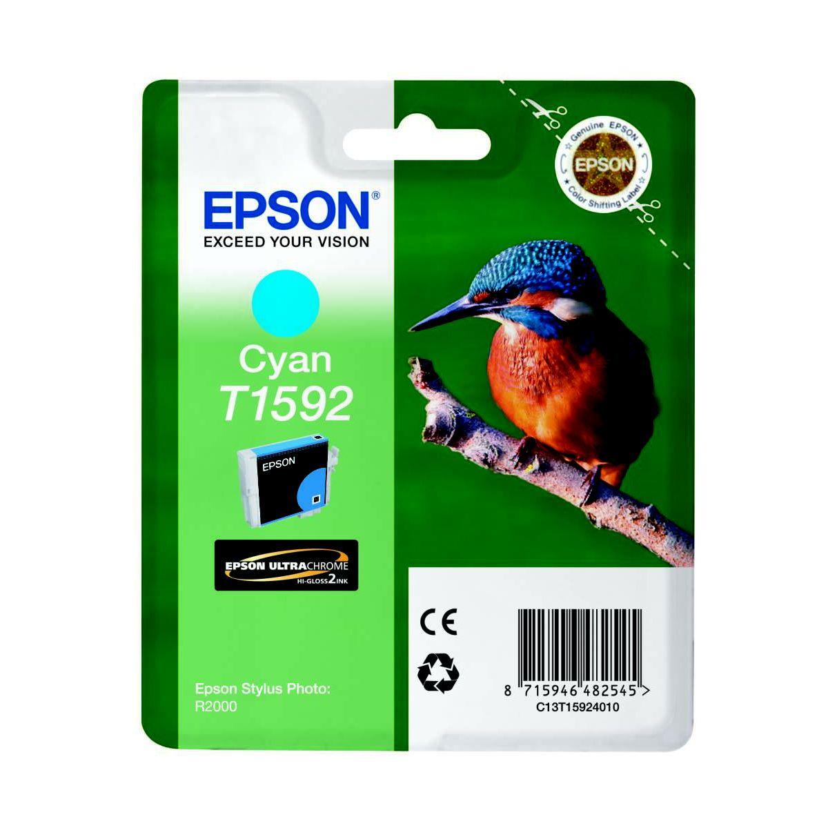 Cartouche d'encre EPSON T1592 Cyan série Martin Pêcheur