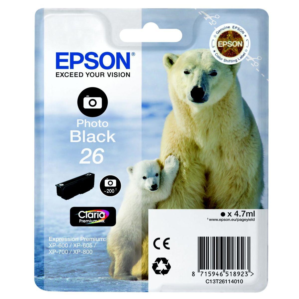 Cartouche d'encre EPSON T2611 Noire Photo Série Ours Polaire