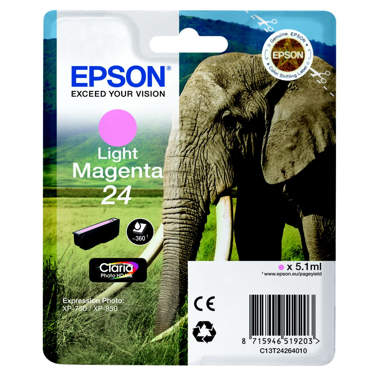 Cartouche d'encre EPSON T2426 Magenta Claire Série Eléphant