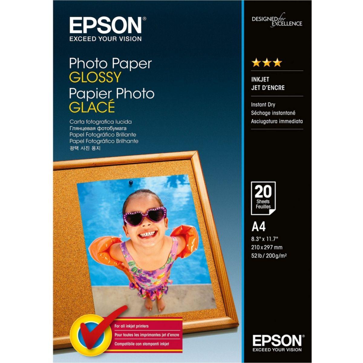 Papier photo EPSON glacé 200g A4 20 feuilles