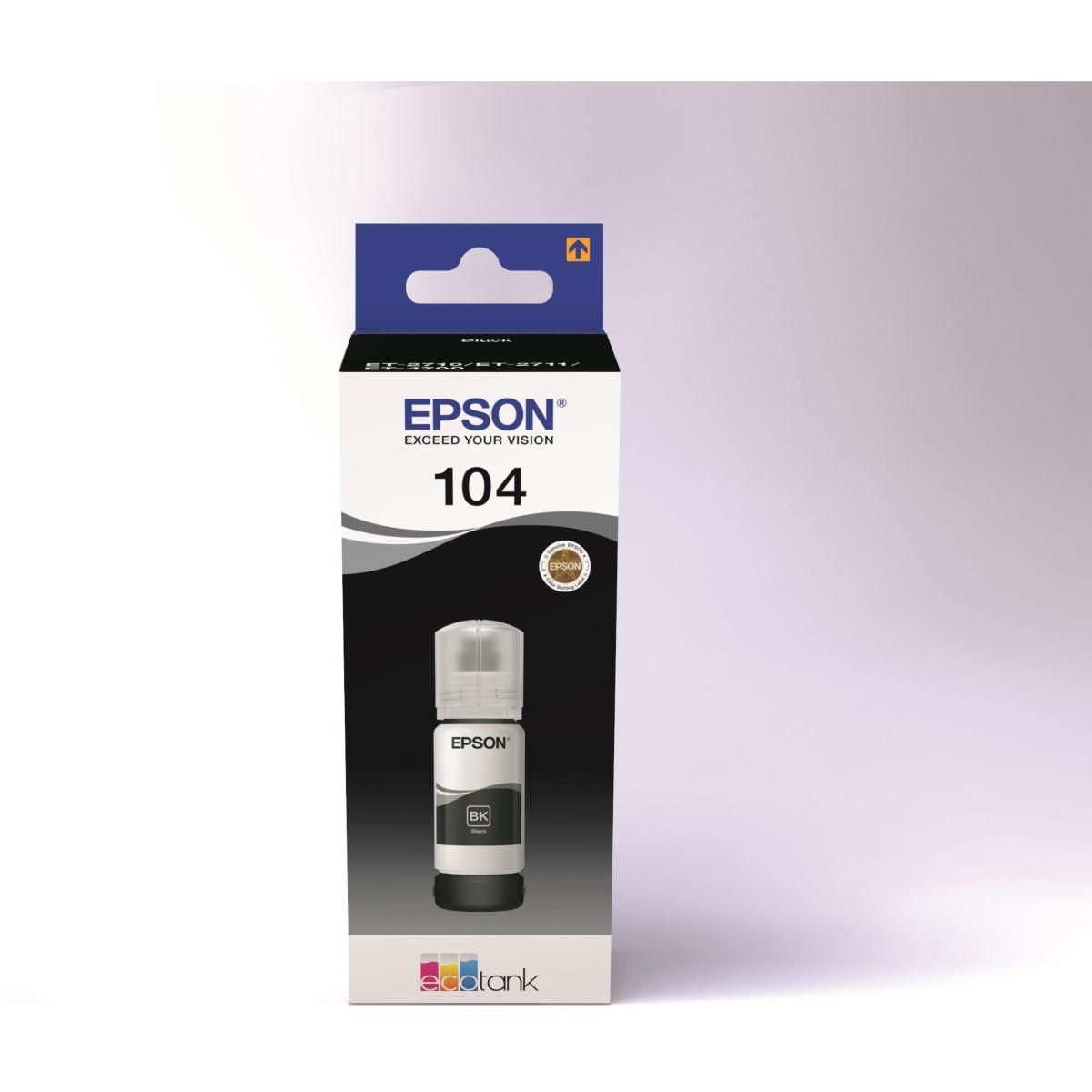 Cartouche d'encre EPSON Ecotank Bouteille 104 Noir