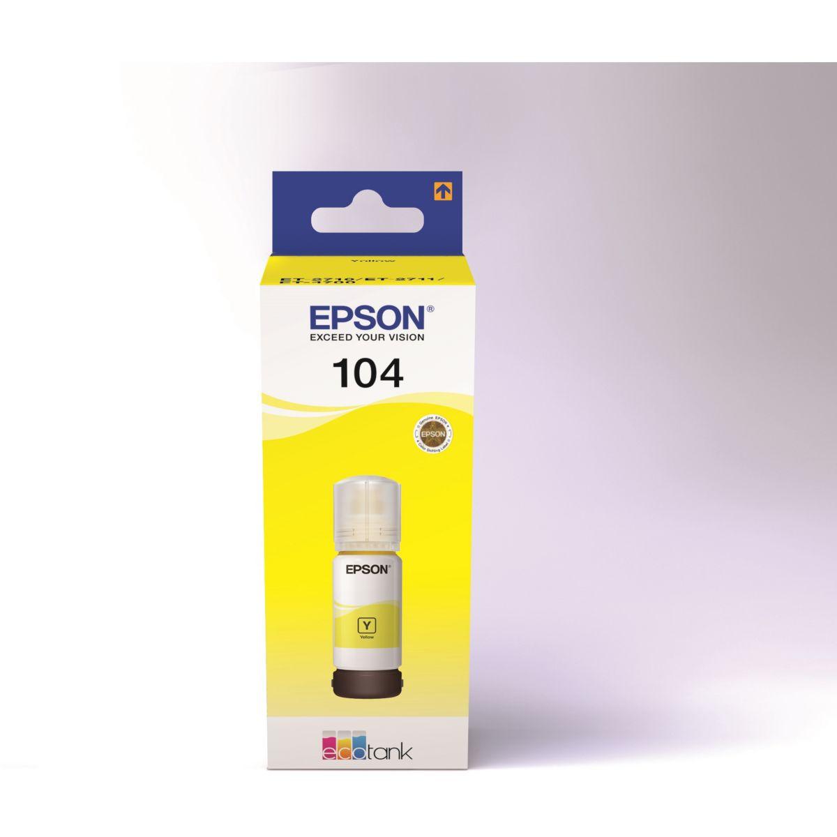 Cartouche d'encre EPSON Ecotank Bouteille 104 Jaune