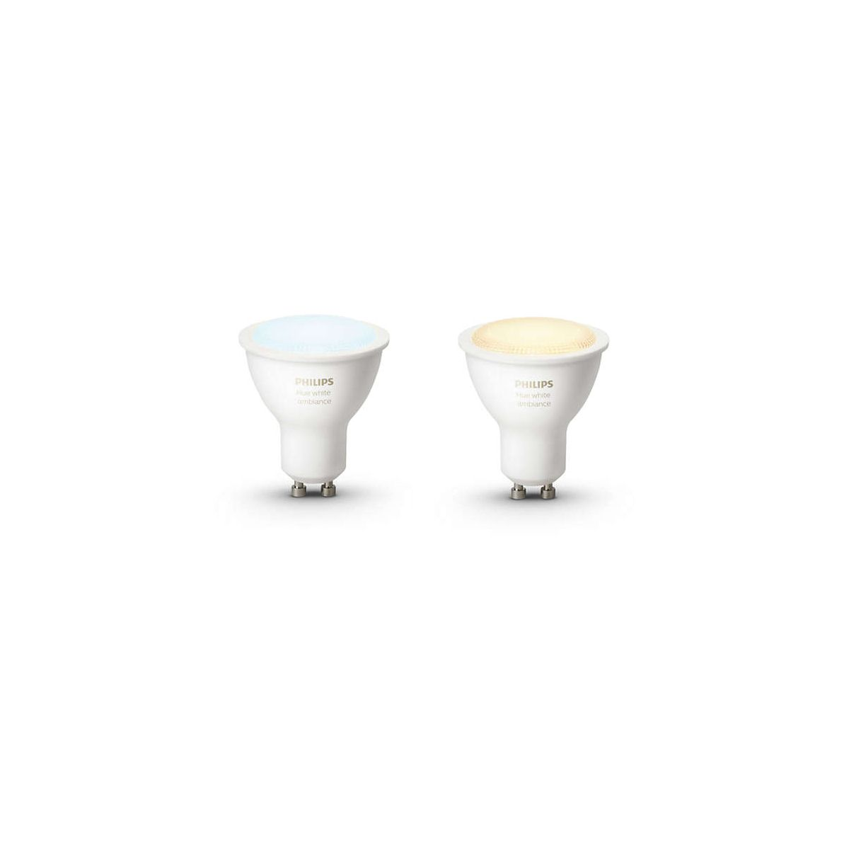 Ampoule connectable PHILIPS Pack x2 GU10 White & Ambiance