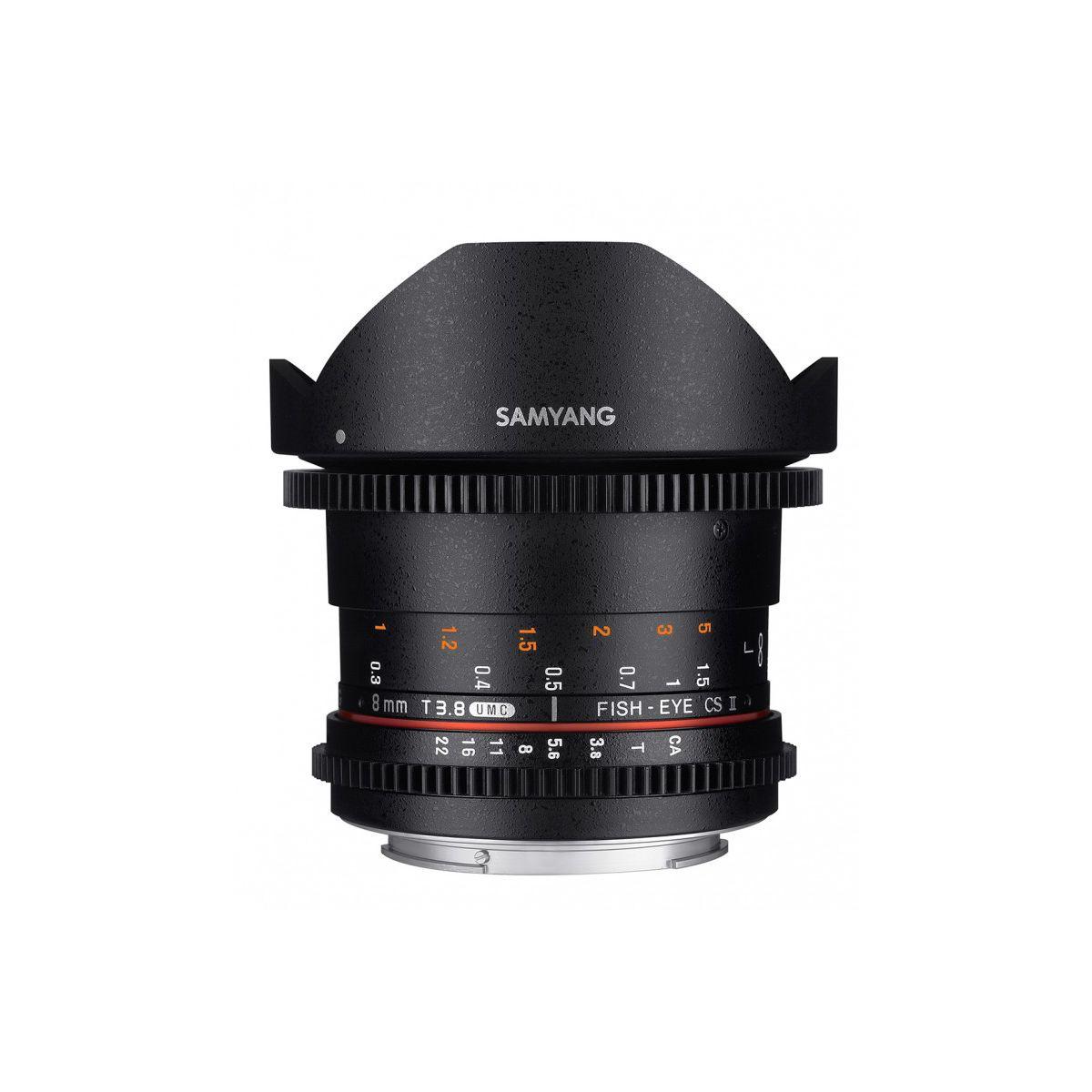 Objectif pour Reflex SAMYANG 8mm T3.8 Fisheye CS II VDSLR II C...