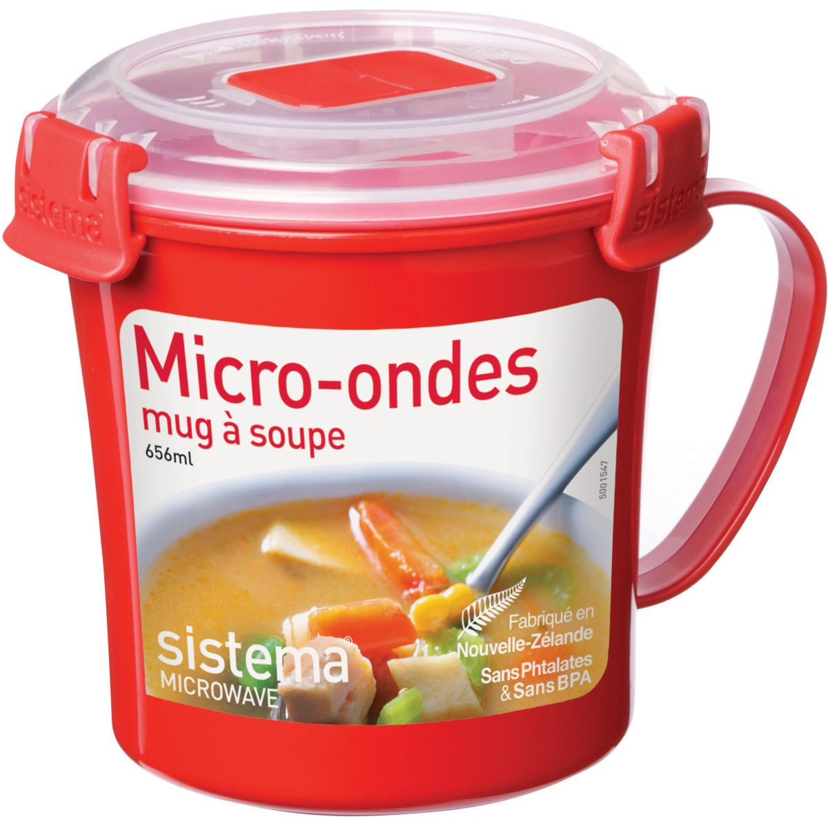 Mug SISTEMA soupe micro-ondes à clips 656 ml (photo)